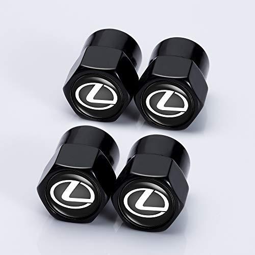 Kaolele 4 Pcs Tire Valve Stem Caps 4pcs Car Tire Valve Stem Air Caps Cover  1pcs Keychain for Lexus Black