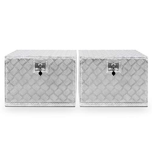 ARKSEN Set of 2 24 Aluminum Truck Underbody ToolBoxes Durable Pickup Trailer Storage Organizer Tool Box Key Lock