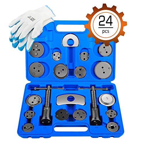 Orion Motor Tech 24-Piece Disc Brake Caliper Tool Kit Front and Rear Brake Piston Compression Tool Professional Automotive Mechanic Tool Set