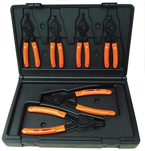 Lang Tools 3497 6-Piece Fixed Tip Combination InternalExternal Snap Ring Pliers Set