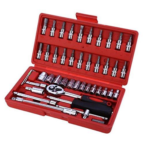Socket Wrench Tool Fansport 46Pcs Car Repair Tool Universal Repair Accessories Kit for Car