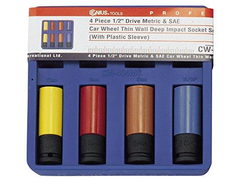 Genius Tools 4 Piece Metric SAE Car Wheel Thin Wall Deep Impact Socket Set CW-404MS
