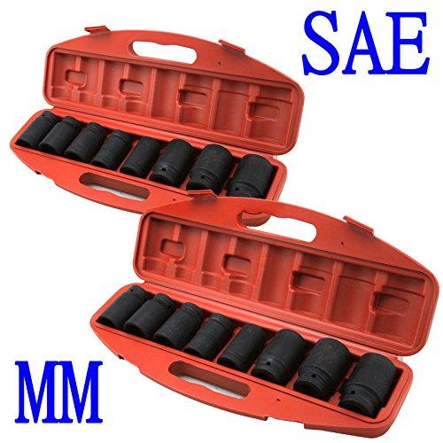 GHP 9-Piece SAE 9-Piece MM Shallow Impact Sockets Set w Storage Case