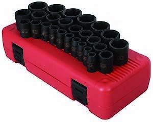 Sunex 2645 26 Piece 12 Drive Metric Shallow Impact Socket Set