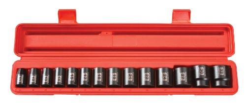 TEKTON 12-Inch Drive Shallow Impact Socket Set Metric Cr-V 12-Point 11 mm - 32 mm 14-Sockets  48171