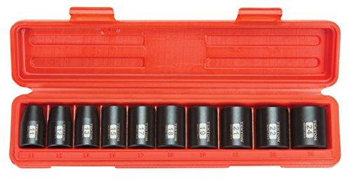 TEKTON 12-Inch Drive Shallow Impact Socket Set Metric Cr-V 6-Point 11 mm - 24 mm 10-Sockets  4815 Renewed