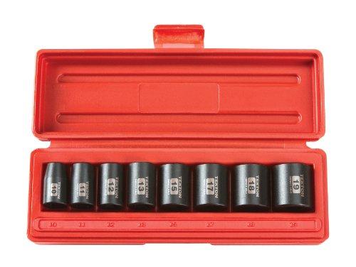 TEKTON 38-Inch Drive Shallow Impact Socket Set Metric Cr-V 6-Point 10 mm - 19 mm 8-Sockets  4795