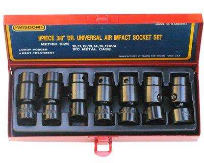 Wisdom 38Dr Universal Shallow Impact Socket Set MM 8-Pcs