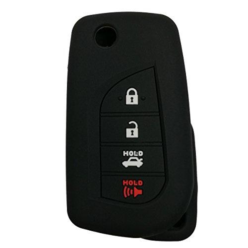 Coolbestda Rubber Flip Folding 4buttons Key Fob Full Cover Remote Case Keyless Protector Jacket for Toyota Camry 4-Runner RAV4 Highlander Yaris HYQ12BFB