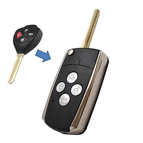 KEMANI Uncut Blank Modify Flip Folding Remote Key Shell Case For Toyota Camry Venza Avalon 4Buttons
