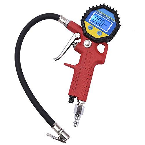 MICTUNING Portable Tire Inflator Digital Tire Pressure Gauge with Lock-On Air Chuck - 150PSI 10BAR 1000KPA 10KGCM2
