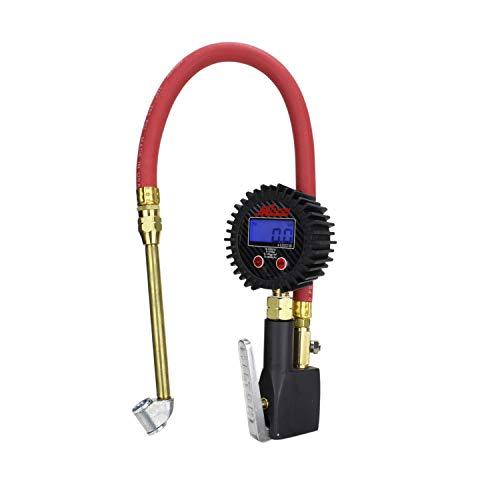 Compact Digital Tire Inflator with Pressure Gauge 255 PSI - Dual Head Air Chuck 15 Rubber Air hose - 14 NPT